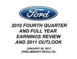 2010 FOURTH QUARTER AND FULL YEAR EARNINGS REVIEW AND 2011 OUTLOOK