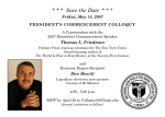 * * *  Save the Date  * * * Friday, May 18, 2007 Thomas L. Friedman