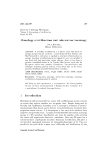 Homology stratifications and intersection homology Geometry & Topology Monographs Colin Rourke Brian Sanderson