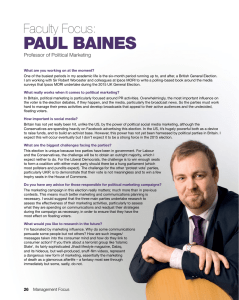 PAUL BAINES Faculty Focus: Professor of Political Marketing