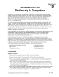 15 Biodiversity in Ecosystems Experiment PRELIMINARY ACTIVITY FOR