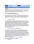Ministry of Health National Cancer Programme Update April 2013