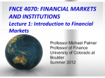 Lecture 1: Introduction to Financial Markets