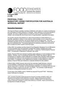 Proposal P1003 - Food Standards Australia New Zealand
