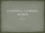 CHAPTER 4 : LEARNING WORDS