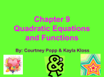 Chapter 9 Quadratic Equations and Functions