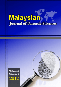 Malaysian Journal of Forensic Sciences, 2012, 3(1)