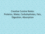Creative Cuisine Notes: Proteins, Water, Carbohydrates, Fats