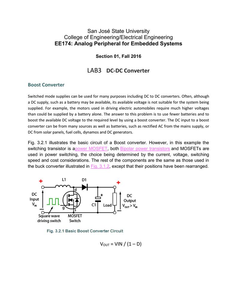 Boost Converter Operation San Jose State University Mosfet Basics Circuits