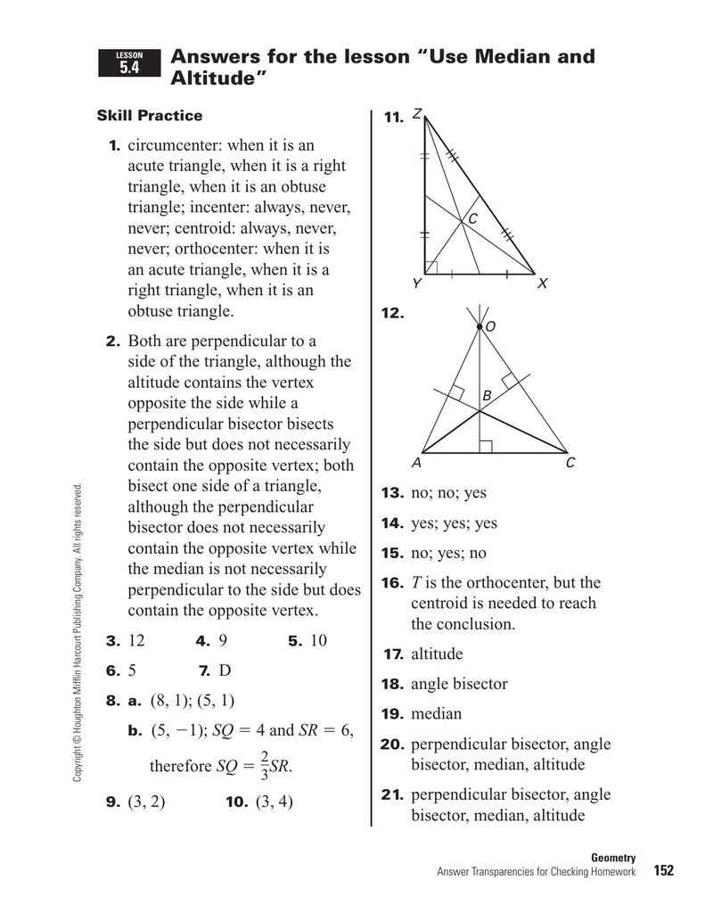 Answers For The Lesson Use Median And Altitude