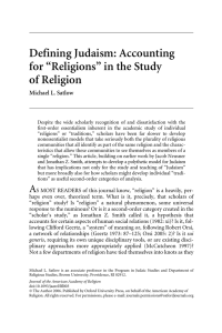 "Defining Judaism: Accounting for ""Religions"" in"