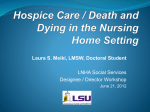 Hospice Care / Death and Dying in the Nursing Home Setting