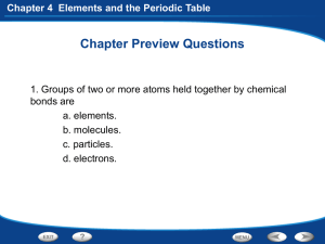 Chapter 4 Elements and the Periodic Table The Periodic Table