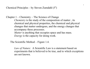 Chemical Principles – by Steven Zumdahl (5 ) Chapter 1