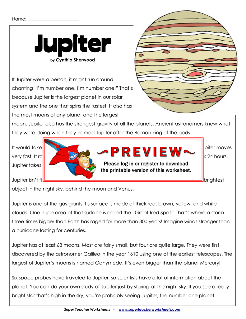 Jupiter Superteacherworksheets