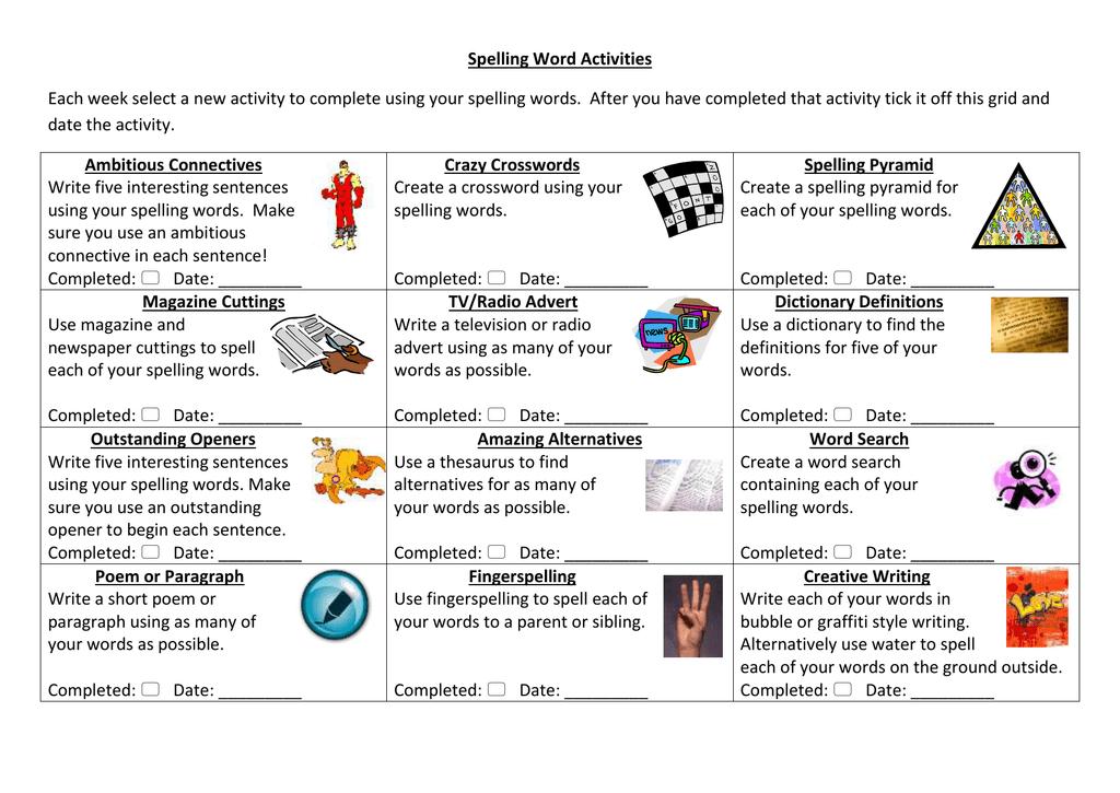 Spelling Word Activities - Term 1