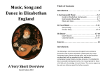 Music, Song and Dance in Elizabethan England