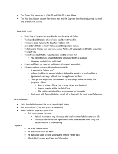 Outline of notes on the Trojan War