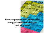 How are properties of atoms used to organize elements into the