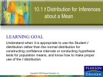 Section 10-1 t Distribution for Inferences about a Mean