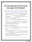 Civil War Reconstruction Internet Scavenger Hunt WebQuest