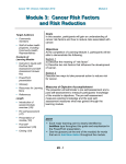 Module 3: Cancer Risk Factors and Risk Reduction