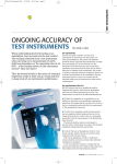 ONGOING ACCURACY OF TEST INSTRUMENTS By Mark Coles