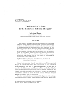The Revival of Athens in the History of Political Thought*
