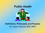Public Health Definition, Philosophy and Purpose