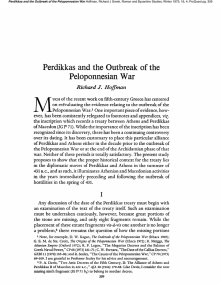 Perdikkas and the Outbreak of the Peloponnesian War