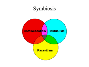 Symbioses and Parasitism - Powerpoint for Oct. 23.