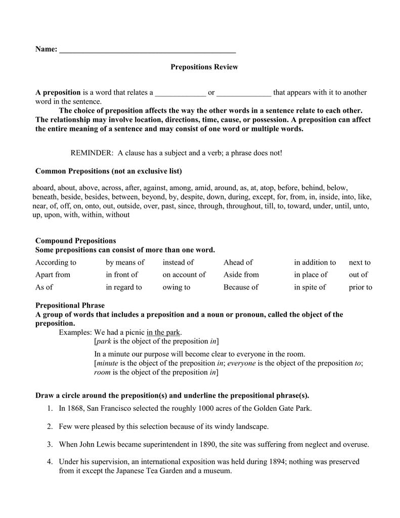 Preposition review