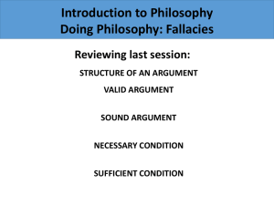 Session 4: Doing philosophy: fallacies