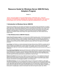 Resource Guide for Windows Server 2008 R2 Early Adopters