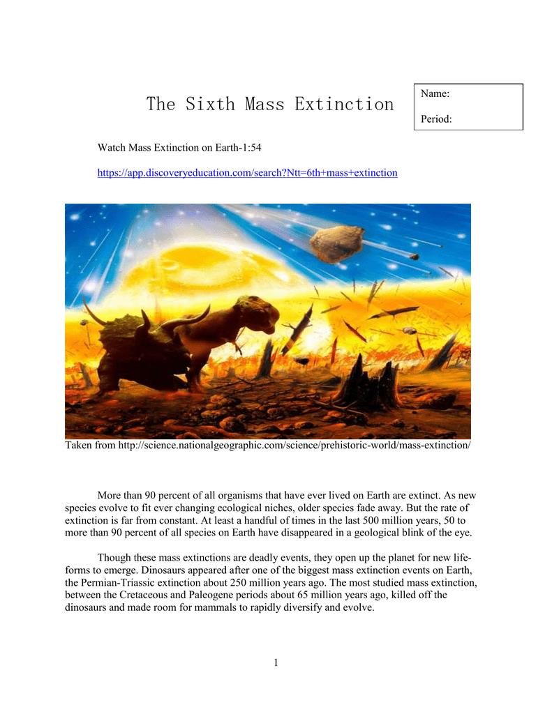 The sixth mass extinction worksheet