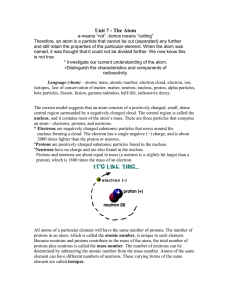 Content Domain III: Chemistry—Atomic Theory and