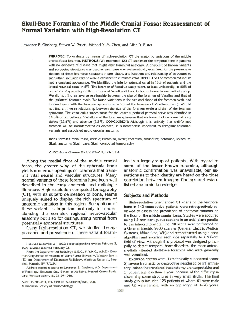 Skull Base Foramina Of The Middle Cranial Fossa