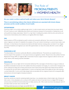 The Role of MICRONUTRIENTS In WOMEN`S HEALTH