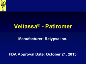 Veltassa ® - Patiromer Literature Review