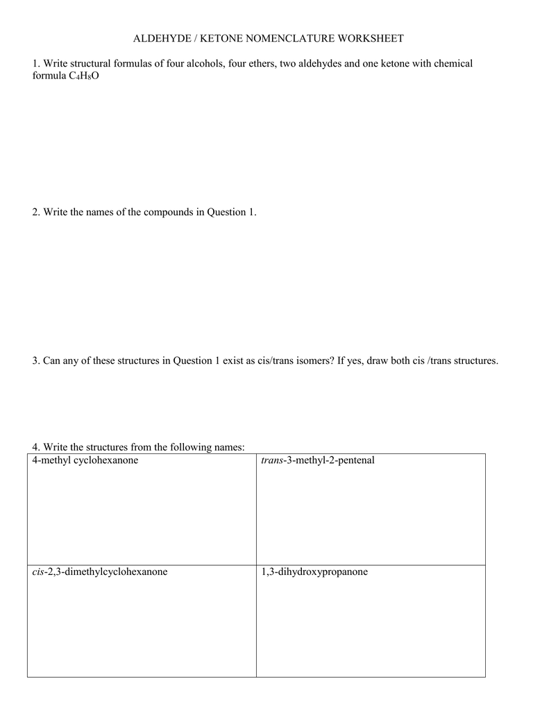 Naming Alcohols Worksheet - resultinfos