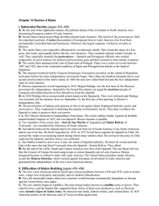 Chapter 14 Section 4 Notes I. Nationalist Revolts (pages 453–455