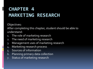 CHAPTER 4 MARKETING RESEARCH