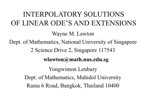 ODE - Maths, NUS