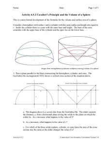 Activity 6.5.2 Cavalieri`s Principle and the Volume of a Sphere