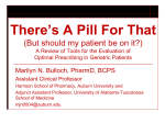 There*s A Pill For That (But should my patient be on it?) A Review of