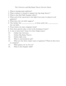 The Universe and Big Bang Theory Review Sheet