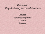 Grammar: Keys to being successful writers