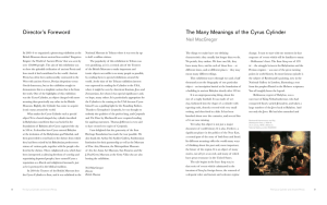 Director`s Foreword The Many Meanings of the Cyrus Cylinder