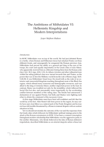 The Ambitions of Mithridates VI: Hellenistic Kingship and Modern