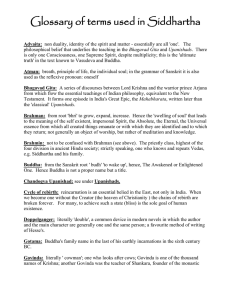 Glossary of Terms for Siddhartha
